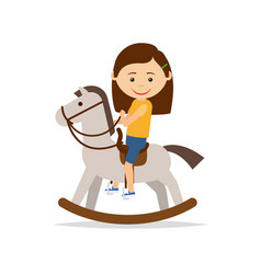 Little girl riding a toy horse vector