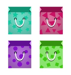 Set of flat paper shopping bag vector