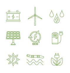 Green outline recycle ecology energy icons vector