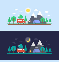 470day and night camp vector