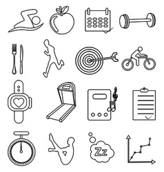 Fitness health line icons set vector