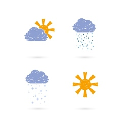 hands draw meteo icons vector image