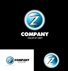 Letter z logo 3d button vector