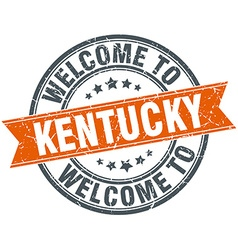 Welcome to kentucky orange round ribbon stamp vector