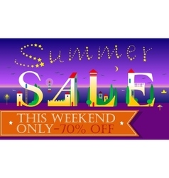 Summer sale this weekend only seventy percents vector