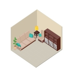 Apartment Interior in Isometric Projection vector image