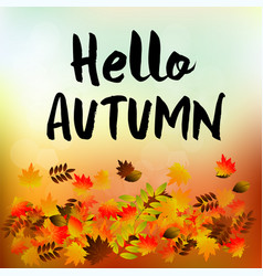 autumn typographic fall leaf vector image vector image