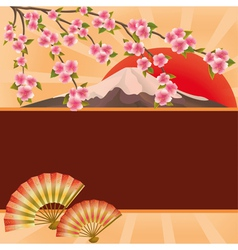 Background with fans mountain and Japanese cherry vector image