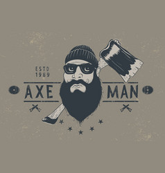 Bearded lumberjack with ax vector