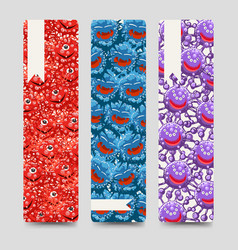 Bookmarks collection with colorful microbes vector