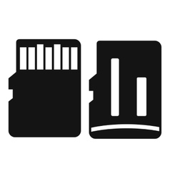 Both sides of sd memory card icon simple style vector