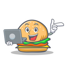 Burger character fast food with laptop vector