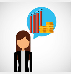businessperson with financial icons vector image vector image