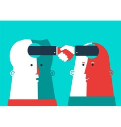 Bussiness two heads shaking hands vector