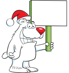 Cartoon Polar Bear Santa vector image vector image