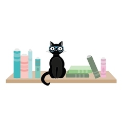 Cat with glasses and books vector