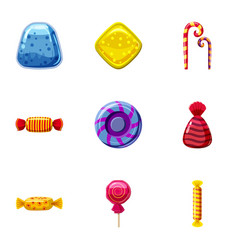 Colorful candy icons set cartoon style vector