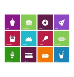 Fast food icons on color background vector