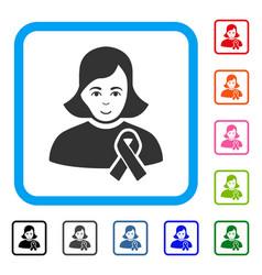 Girl with sympathy ribbon framed enjoy icon vector
