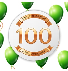 Golden number hundred years anniversary vector image