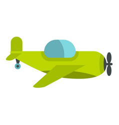 Green toy plane icon isolated vector
