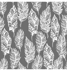 Hand drawn zentangle doodle white feathers vector image vector image