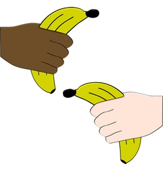 Hands holding bananas vector image vector image