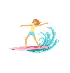 happy surf girl with surfboard riding a wave vector image