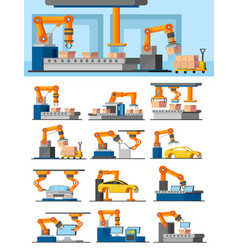 Industrial automated manufacturing concept vector