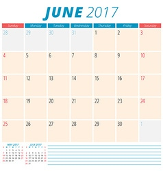June 2017 Calendar Planner for 2017 Year Week vector image vector image