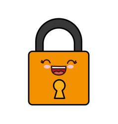 Kawaii padlock icon vector