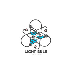 logo of three light bulbs with powers cords vector image vector image