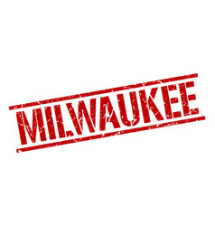 Milwaukee red square stamp vector