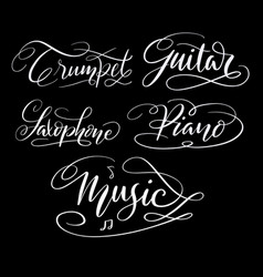 Music hand written typography vector