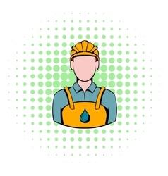 Oilman icon comics style vector image