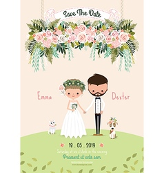 Rustic wedding couple invitation card floral vector
