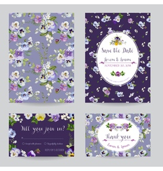 Save the Date - Wedding Invitation Card Set vector image