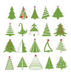 set of christmas trees in red vector image vector image