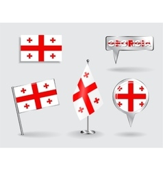 Set of georgian pin icon and map pointer flags vector