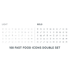 Set of thin and bold fastfood fast food elements vector