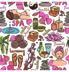 Spa sketch seamless pattern color vector image vector image
