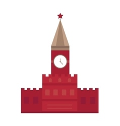 Spasskaya tower in moscow russia flat design vector
