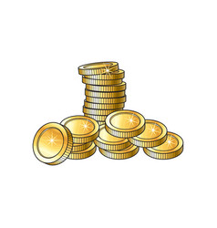 Stack pile heap of shiny gold coins vector