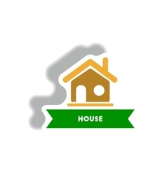 Stylish icon in paper sticker style building house vector