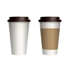 Take-out coffee with brown cap and cup holder vector