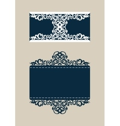 Template envelope with carved openwork pattern vector image