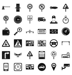 Traffic in city icons set simple style vector