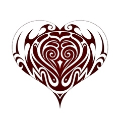 Tribal art heart shape tattoo vector image vector image