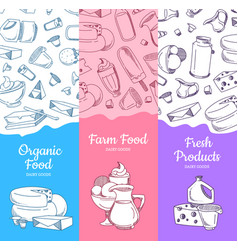 vertical banners with sketched dairy goods vector image vector image