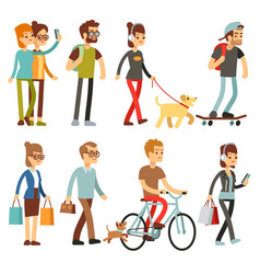 Walking people human persons on street in outdoor vector